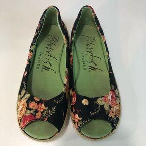 Blowfish Malibu Canvas Peep Toe Floral Shoe Size 8